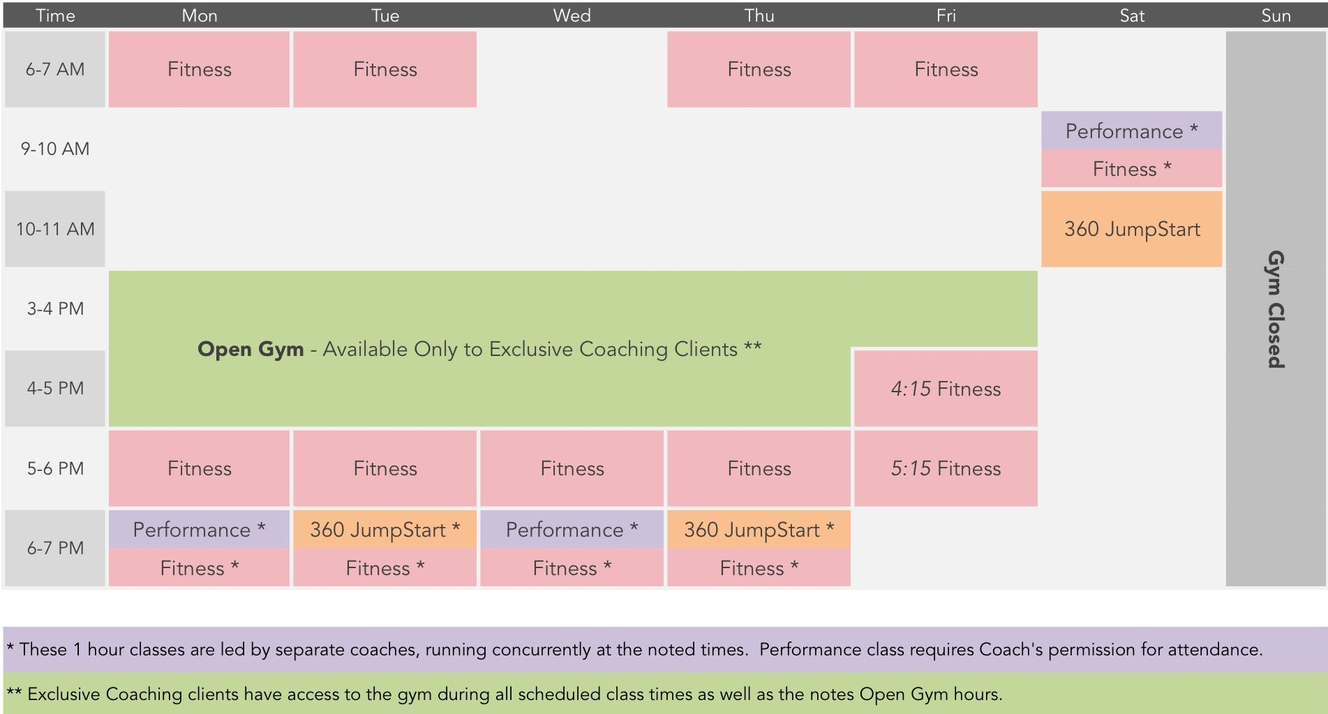 MSP Fitness 2016 Class Schedule