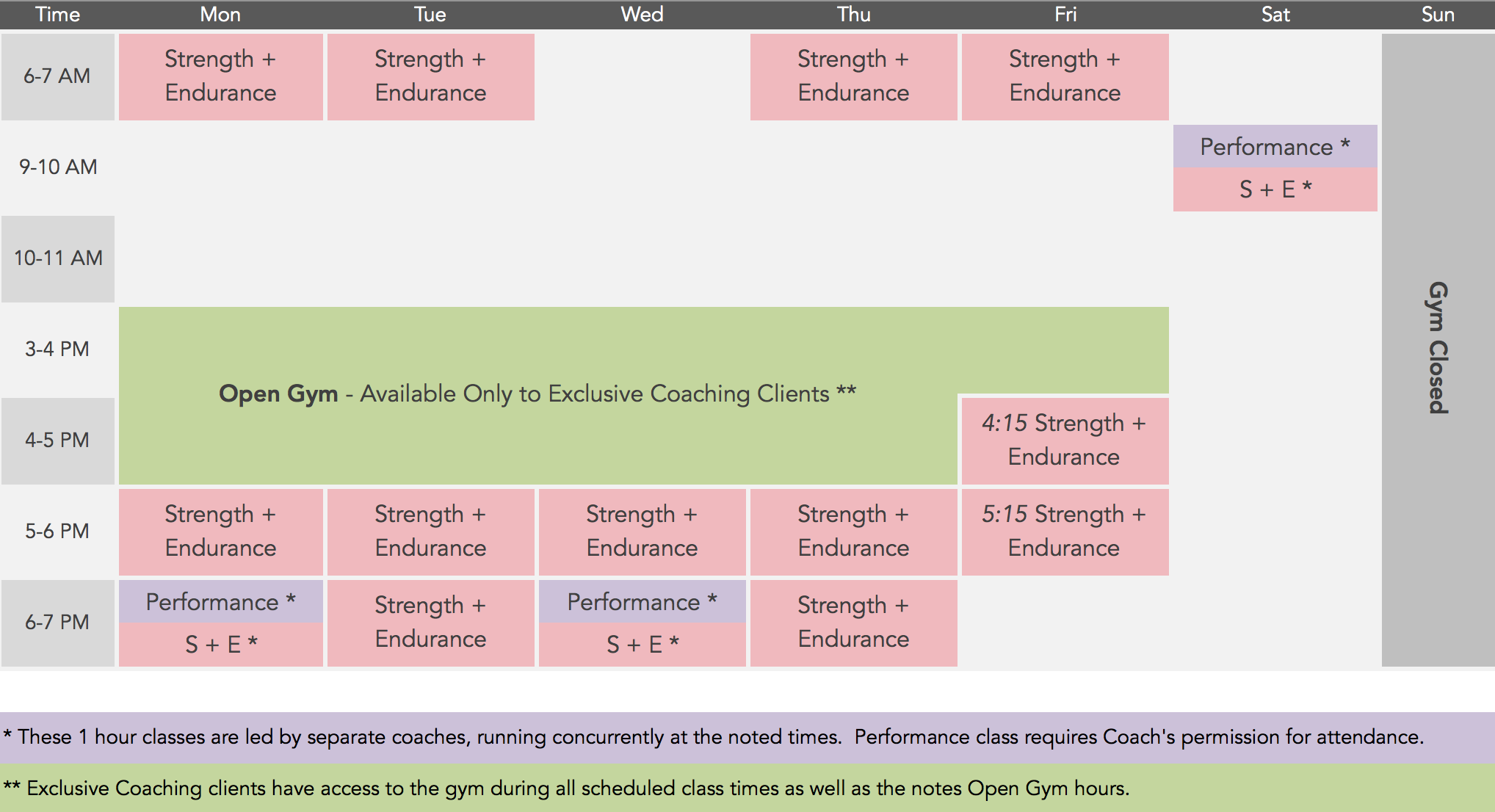 MSP Fitness 2017 Class Schedule