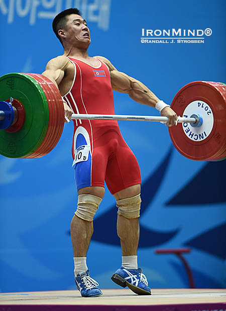 Kim Un-guk (DPR Korea) snatching 154kg at 62kg bodyweight. Photo credit: IronMind