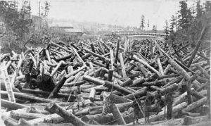 Major log jam on the St. Croix River at Taylors Falls Minnesota, 1865